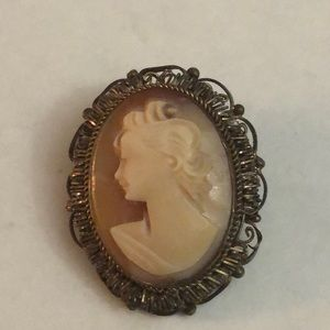 Antique gold filled cameo brooch* old piece